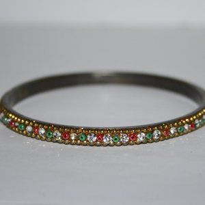Vintage gold bangle with red green and white
